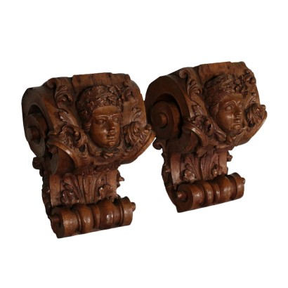 Pair of Finely Carved Wooden Shelves Italy Late '800 Early '900