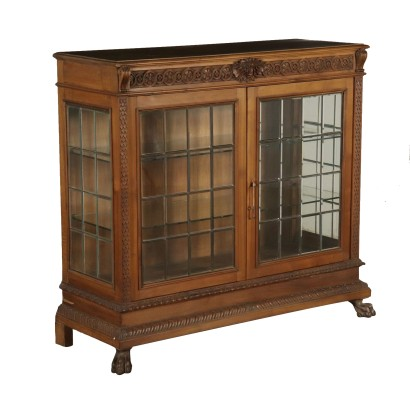 Neo-Renaissance Glass Cabinet Walnut Italy 20th Century
