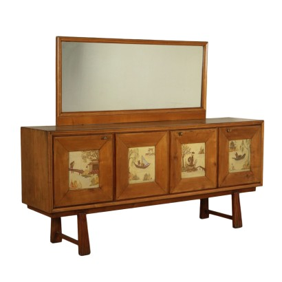Buffet with Mirror Maple Veneer Vintage Italy 1940s