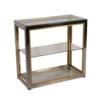 Shelving Unit Chromed Metal Brass Glass Vintage Italy 1980s