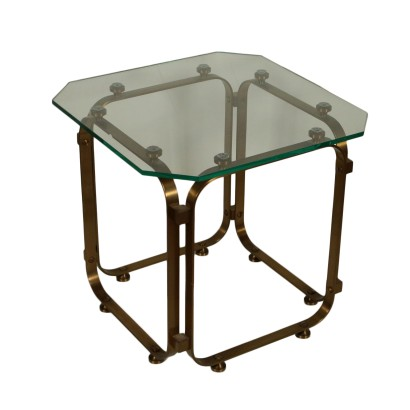 Coffee Table Brass Glass Vintage Italy 1960s