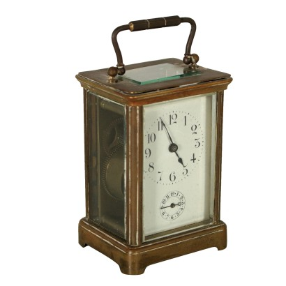 Portable Clock Gilded Bronze Glass Late 19th Century