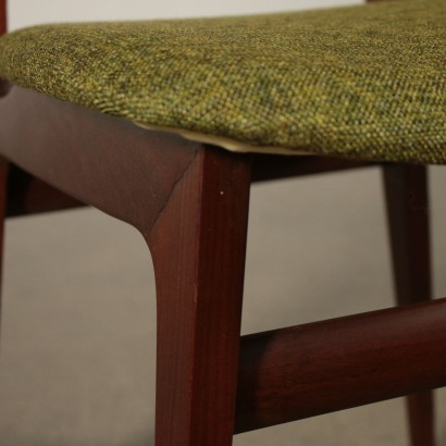 Set of Chairs Stained Beech Fabric Vintage Italy 1960s