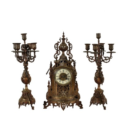 Bronze Mantelpiece Triptych 19th Century