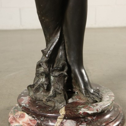 Liberty Bronze Statue Marble Base Italy Early 1900s