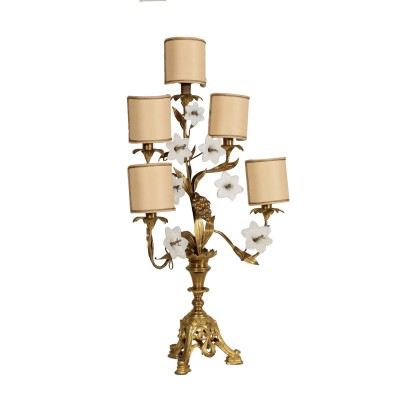 Table Lamp Gilded Bronze Glass Italy First Half of 1900s