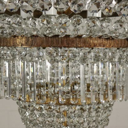 Chandelier Empire Style Brass Glass Italy 20th Century