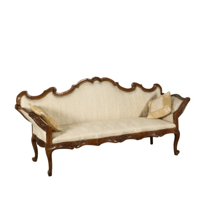 Serpentine Walnut Sofa Manufactured in Italy Mid 1700s