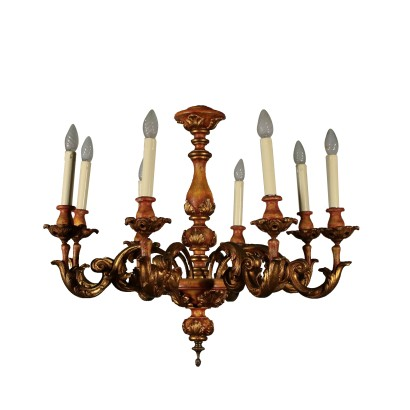 Chandelier Carved Gilded Italy 20th Century
