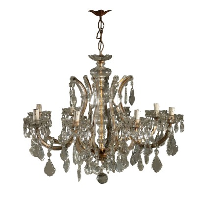 Marie Therese Chandelier Crystal Pendants Italy Early 1900s