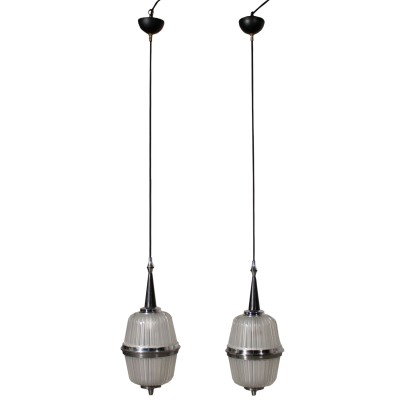 Pair of Ceiling Lamps Glass Aluminium Vintage Italy 1960s