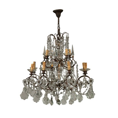 Chandelier Eight Arms Glass Pendants Italy 20th Century