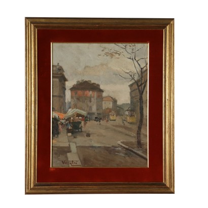 Glimpse of Milan Porta Garibaldi Oil on Plywood 1929