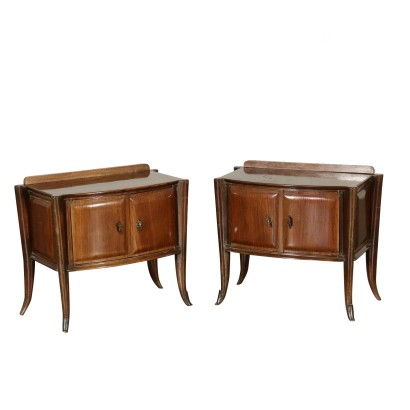 Pair of Nightstands Rosewood Veneer Vintage Italy 1950s