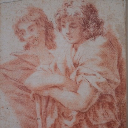 Sanguine Attributed to Carlo Maratti Young Couple 17th Century