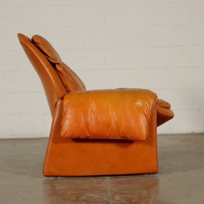 Pair of Armchairs for Saporiti Leather Vintage Italy 1980s