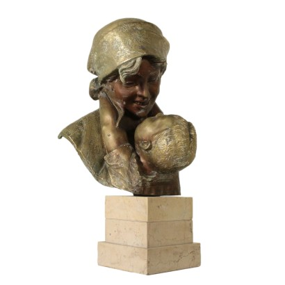 Mother with Child A. Merente Bronze Sculpture 20th Century