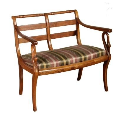 Empire Small Bench Walnut Italy Early 19th Century
