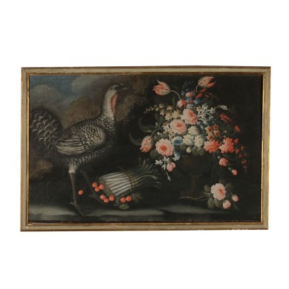 Still Life with Flowers, Guinea Hen and Asparagus Early 1700s