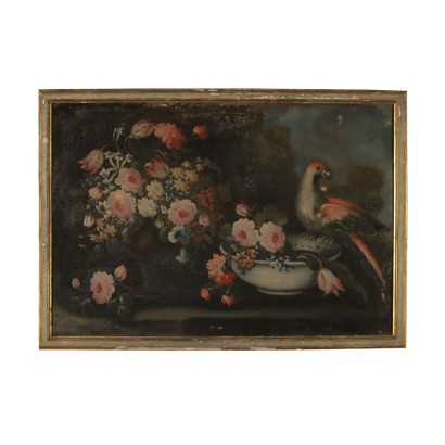 Still Life with Flowers and Parrot Oil Painting Early 1700s