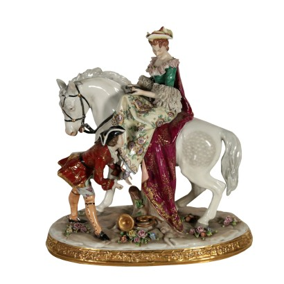Porcelain Sculpture Noble and Dame 20th Century