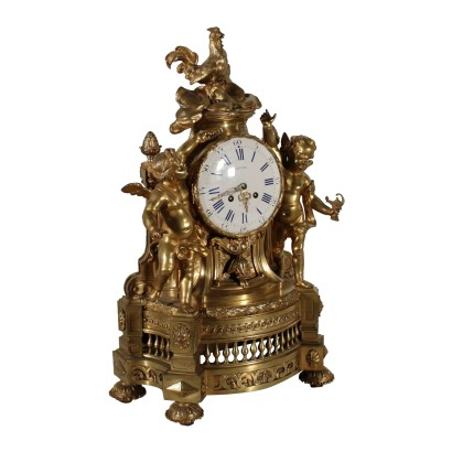 Bronze Mantel Clock Villard A Paris France 19th Century