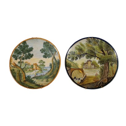 Pair of Decorative Plates Ceramic Italy 19th Century