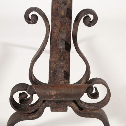 Pair of Mantel Andirons Wrought Iron 18th Century