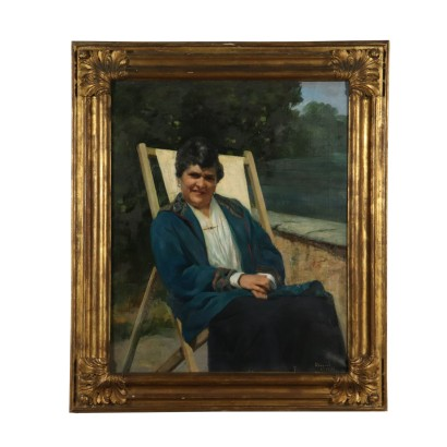Portrait of Old Woman by Luigi Brignoli Oil Painting 1932