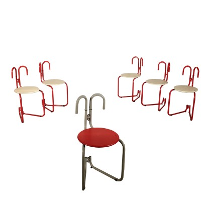 Set of Chairs for Pallucco Lacquered Metal Vintage Italy 1980s