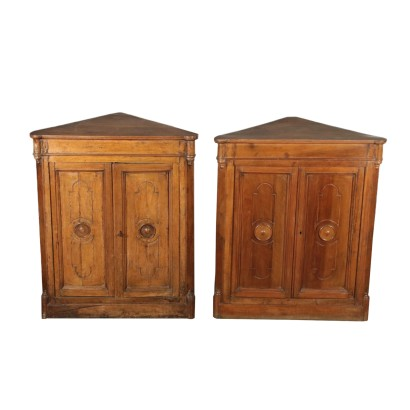 Pair of Corner Cabinets Walnut Italy Mid 1800s