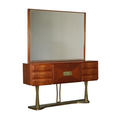 Chest with Mirror Teak Veneer Brass Vintage Italy 1950s