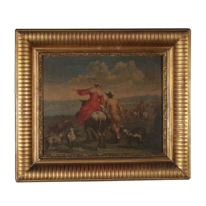 Rural Scene Oil Painting on Canvas 18th Century