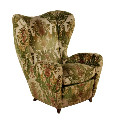 Bergere Armchair Velvet Feather Cushion Vintage Italy 1950s