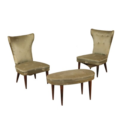 Pair of Armchairs with Footstool Vintage Italy 1940s-1950s