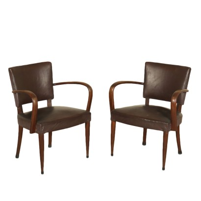 Pair of Armchairs Beech Leatherette Vintage Italy 1940s