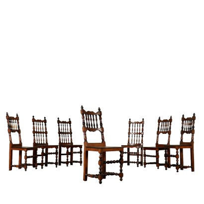 Set of Seven Walnut Chairs Italy 18th Century