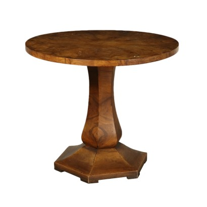 Deco Round Coffee Table Walnut Italy 20th Century