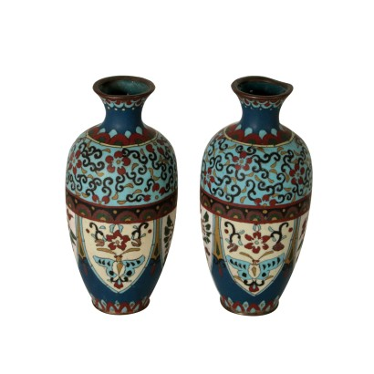 Pair of Decorative Cloisonne Vases Italy