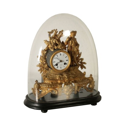 Table Clock within Glass Case Paris France Late 1800s
