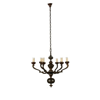 Bronze Chandelier Six Arms Italy 20th Century