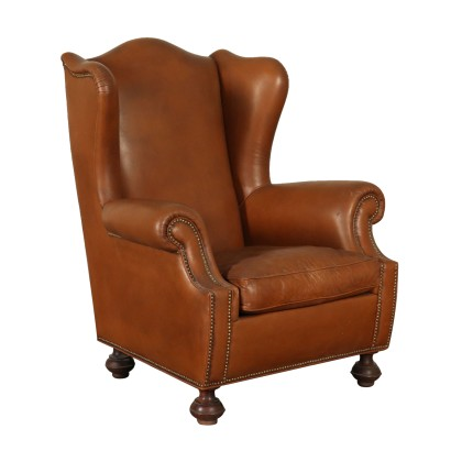 Bergere Armchair Leather Upholstery Italy Mid 1900s
