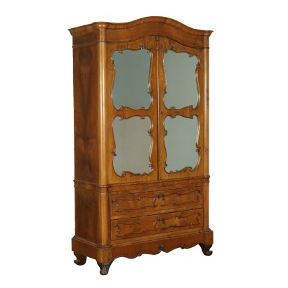 Small Wardrobe with Mirrors Walnut Italy First Half of 1900s
