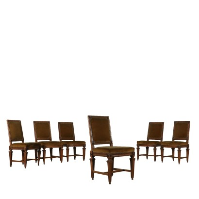 Set of Six Neoclassical Chairs Walnut Italy 18th Century