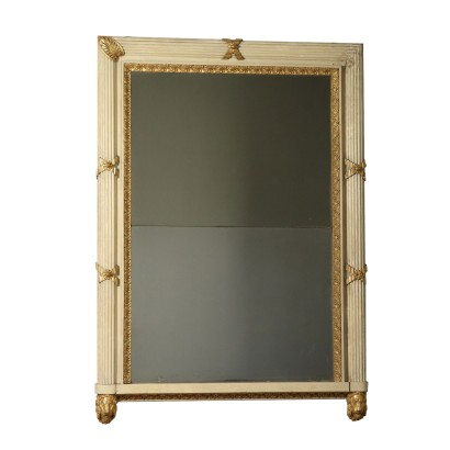 Lacquered Gilded Mantelpiece Mirror Italy 19th Century