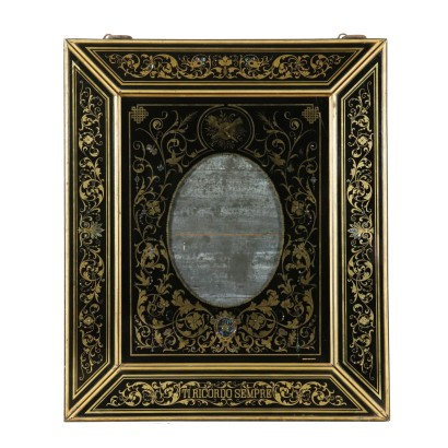 Large Glass Frame Mother-of-Pearl Italy Late 1800s