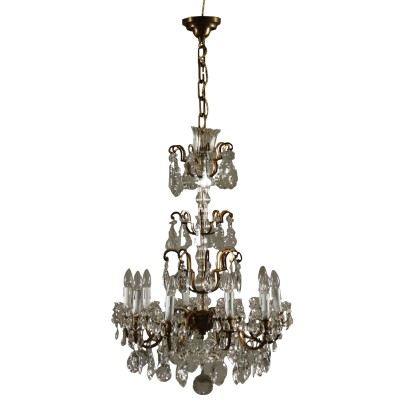 Chandelier Ten Arms Glass Crystal Italy 20th Century