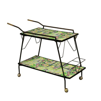 Service Cart Decorated Formica Vintage Italy 1960s