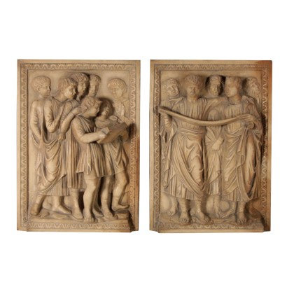 Pair of Tiles Manifattura di Signa Italy First Half of 1900s