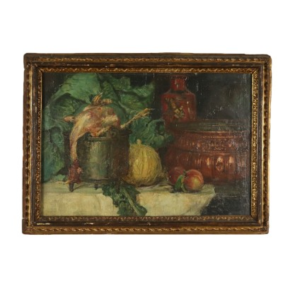 Still Life with Pumpkin and Chicken Oil Painting Early 20th Century